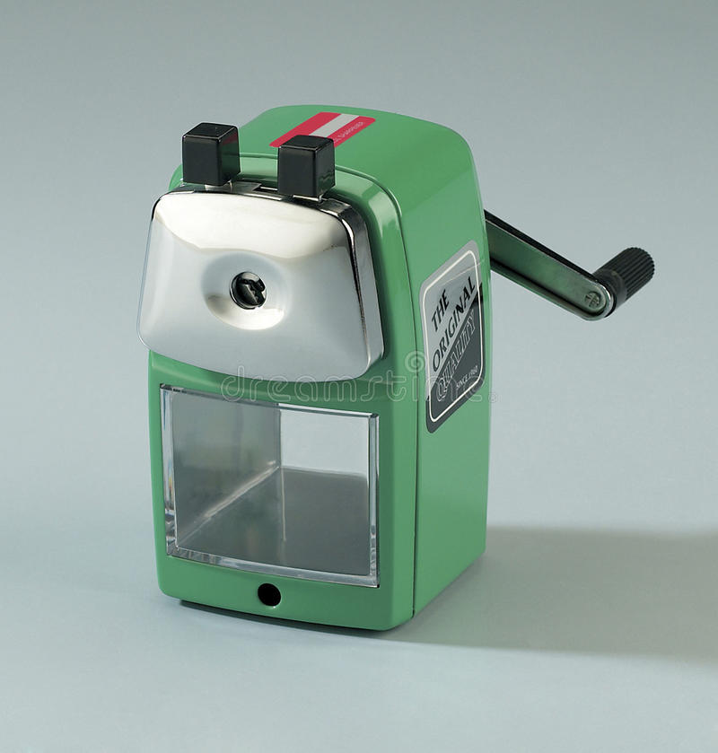 Pencil sharpener. Studio shot of pencil sharpener in green colour royalty free stock image