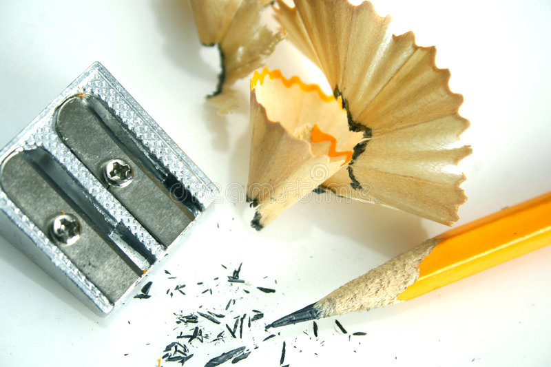 Pencil and sharpener stock image