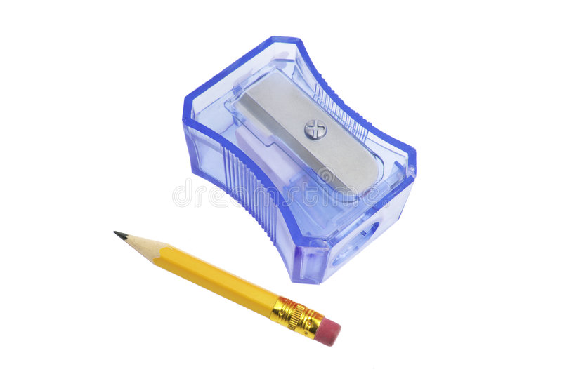 Pencil and Sharpener. On Isolated White Background royalty free stock photos