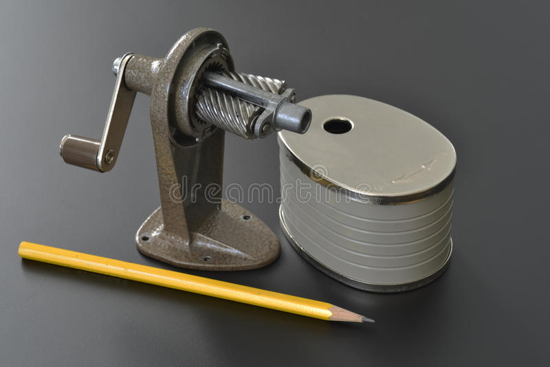 Pencil sharpener. Disassembled for inspection stock photos