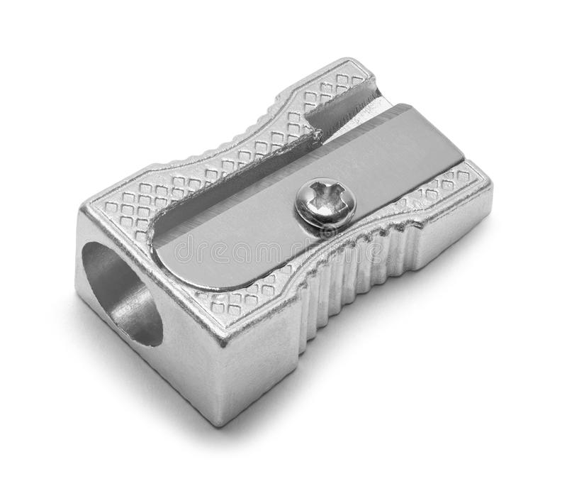 Pencil Sharpener Metal. Metal Pencil Sharpener Isolated on White Background stock image
