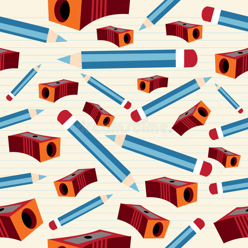 Pencil And Sharpener Pattern Royalty Free Stock Photography