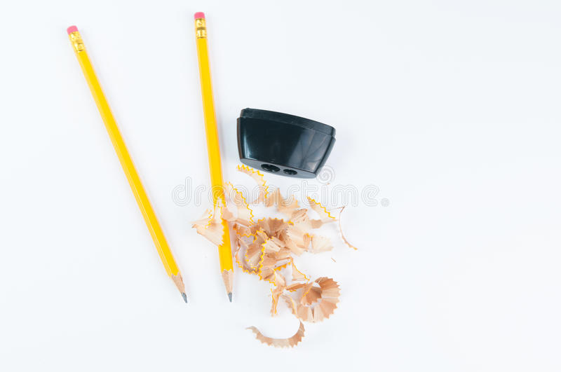 Pencil sharpener. Pencils and pencil sharpener for back to school royalty free stock photos