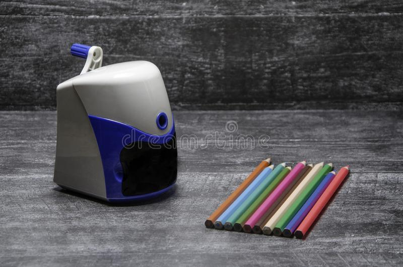 Pencil and sharpener stock photos