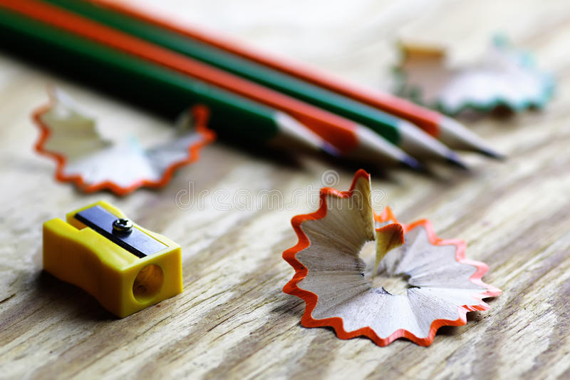 Pencil sharpener trash wood royalty free stock image