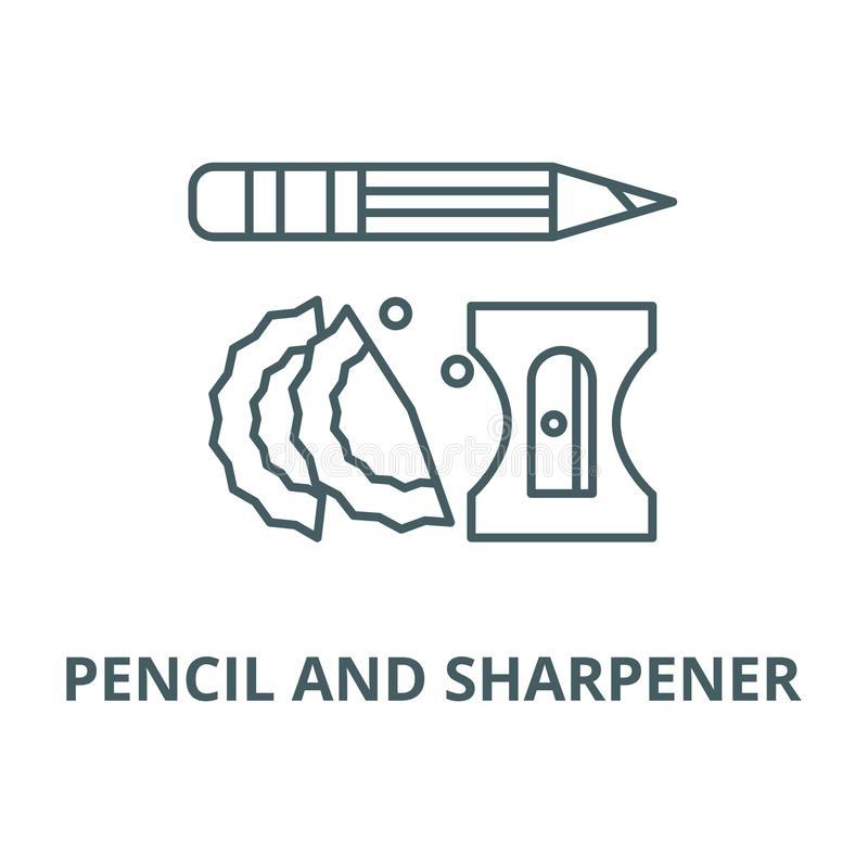Pencil and sharpener vector line icon, linear concept, outline sign, symbol royalty free illustration