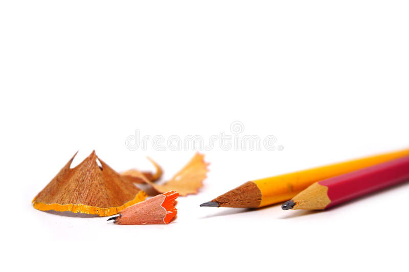 Pencil and sharpener. On white background royalty free stock image