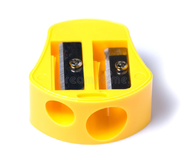 Pencil sharpener. Yellow Pencil sharpener on White background royalty free stock images