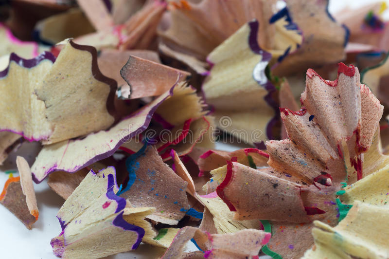 Pencil shaves. Color pencil shaves macro background stock images