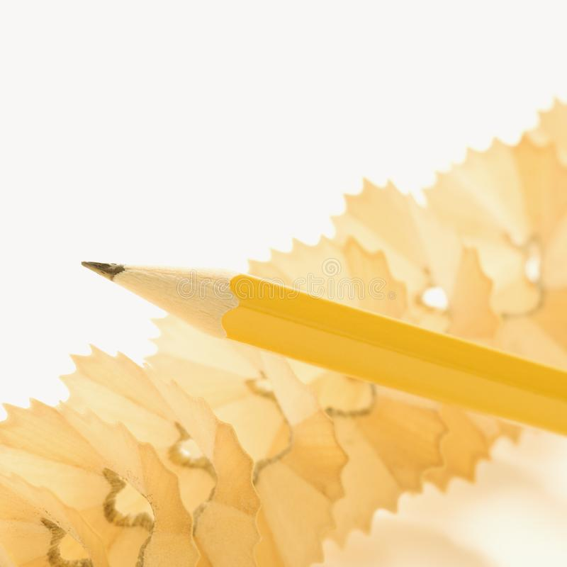 Pencil and shavings royalty free stock photography