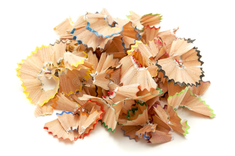 Pencil shavings. On a white background royalty free stock photos