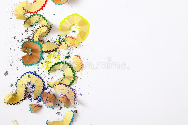 Pencil shavings on white stock images