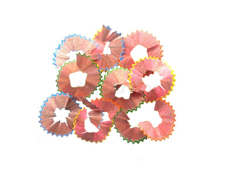 Pencil shavings on white background stock images
