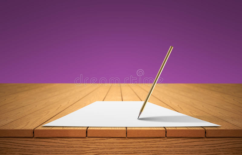 A pencil and a sheet of paper on a wooden table royalty free stock photography