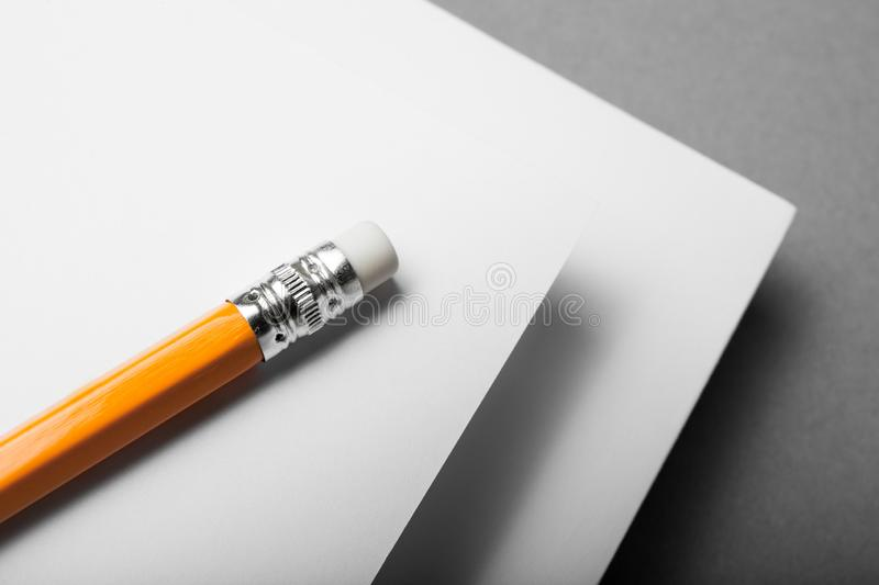 Pencil and sheets of white paper, concept.  stock images