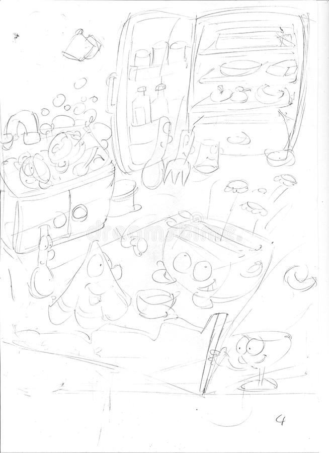 Pencil sketch of a dream I had in the kitchen was a large disaster, everything was animated, fridge stivig stock illustration