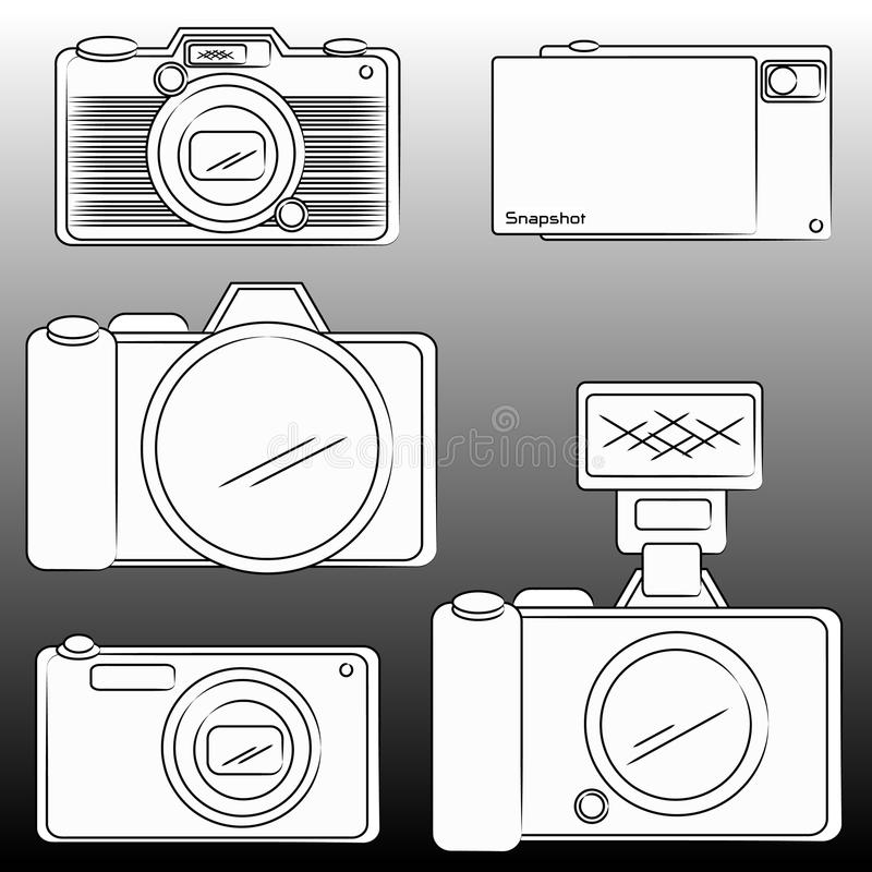 The pencil sketch of DSLR and Camera. The pencil sketch of DSLR and digital Camera vector illustration
