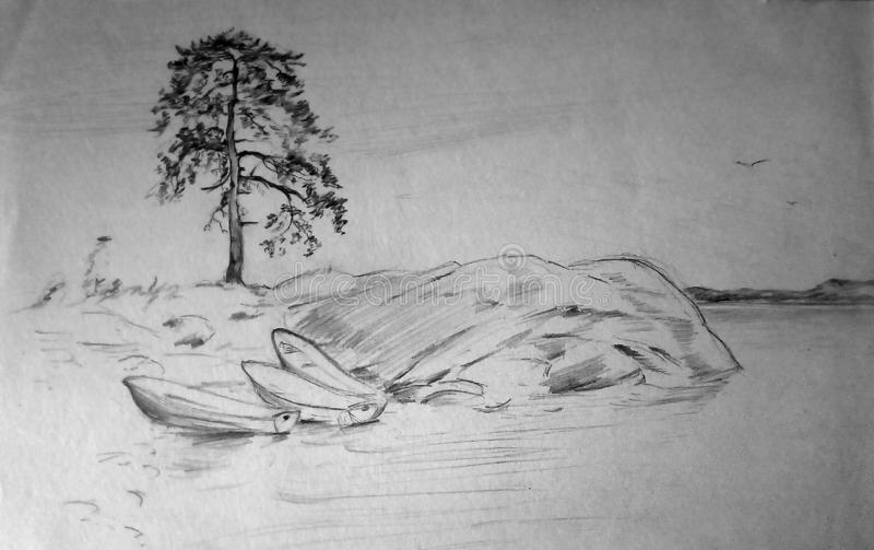 Pencil sketch of the landscape on the lake. Rocky shore, lonely pine, boats on the shore. vector illustration