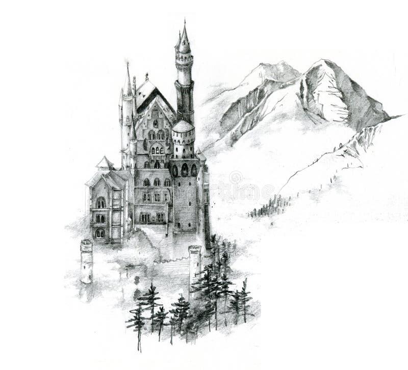 Pencil Sketch of Neuschwanstein stock illustration
