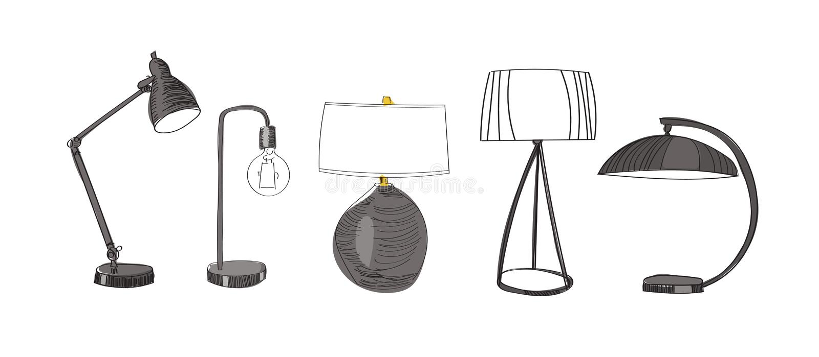 Pencil sketch table lamp design collection on white background table lamp design collection on white background hand drawing stock aloadofball Image collections