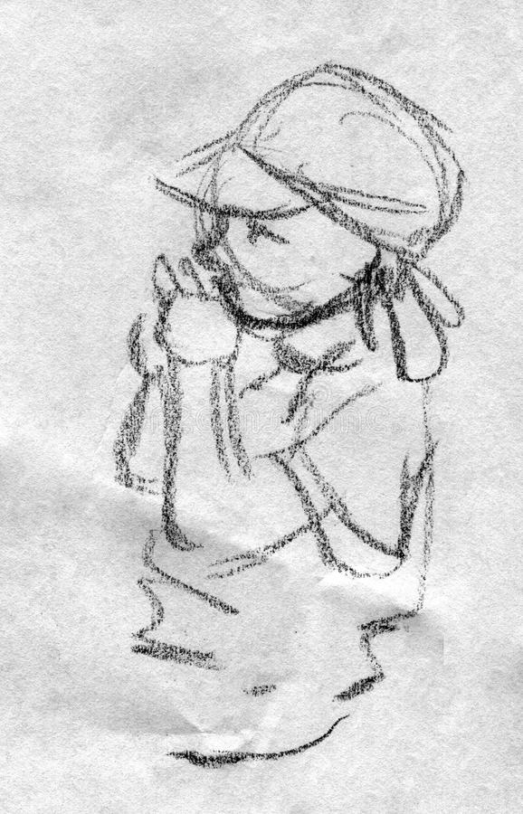 Download Pencil Sketch Of A Toddler Playing Stock Illustration - Image: 42505674