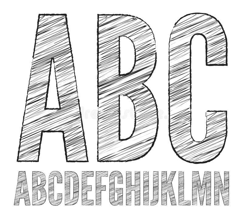 Pencil sketched font vector illustration