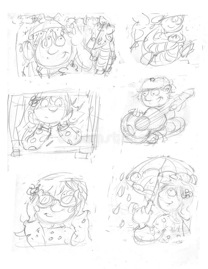 Download pencil sketches little girl with umbrella with occhoali the window with rain boy with guitar