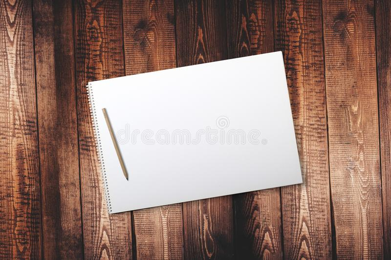 Pencil on Spiral Drawing Notebook royalty free stock images