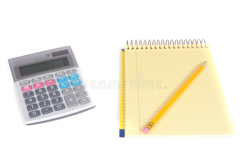 Download Pencil, Spiral Notebook And Calculator Stock Image - Image: 18261949