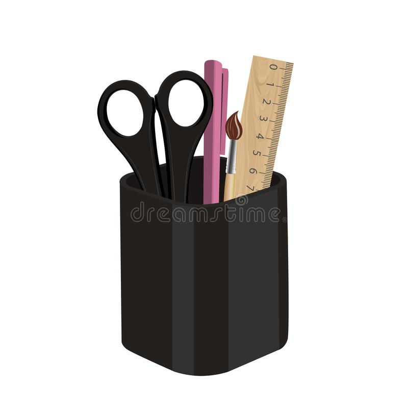 Pencil stand with pen and scissors and ruler. Vector illustration. stock photo