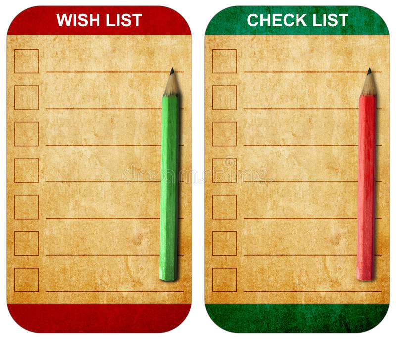 Pencil on Sticky pad wish list and check list stock images