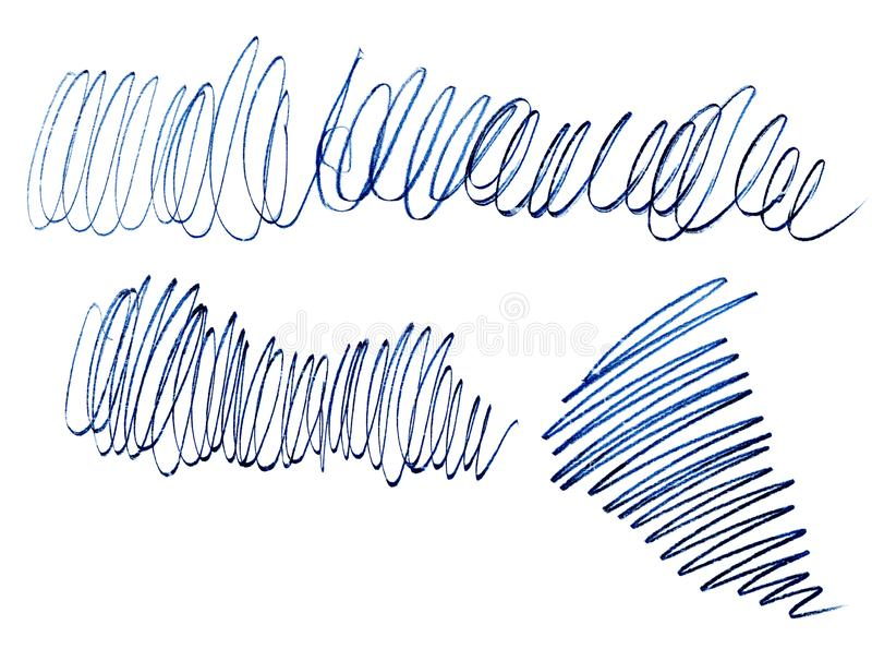 Pencil stroke of curl, blue line bitmap.Grunge texture. Graphical chaotic line. Linear creative messy stroke. Isolated on white background stock illustration