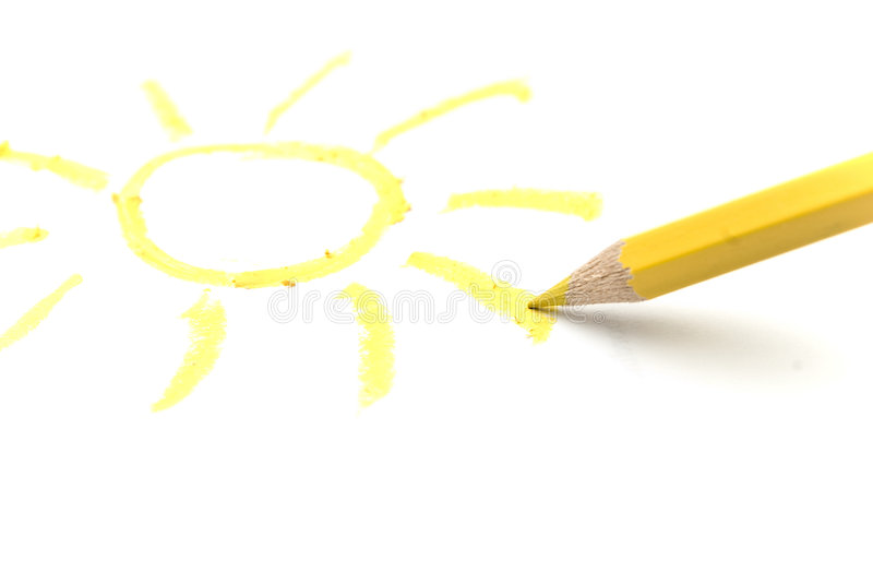 Pencil and sun. Drawing sun with yellow pencil royalty free stock images