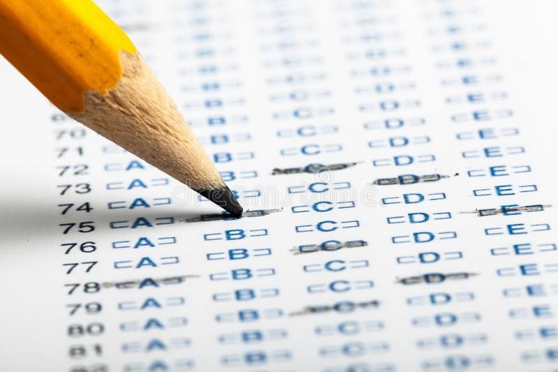 Pencil on a Test Score stock images