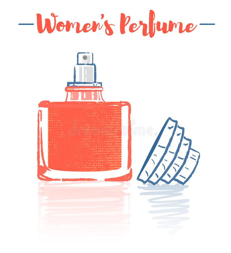 Pencil and textured style orange vector illustration of a beauty utensil perfume bottle product full of flowers fragrances royalty free illustration