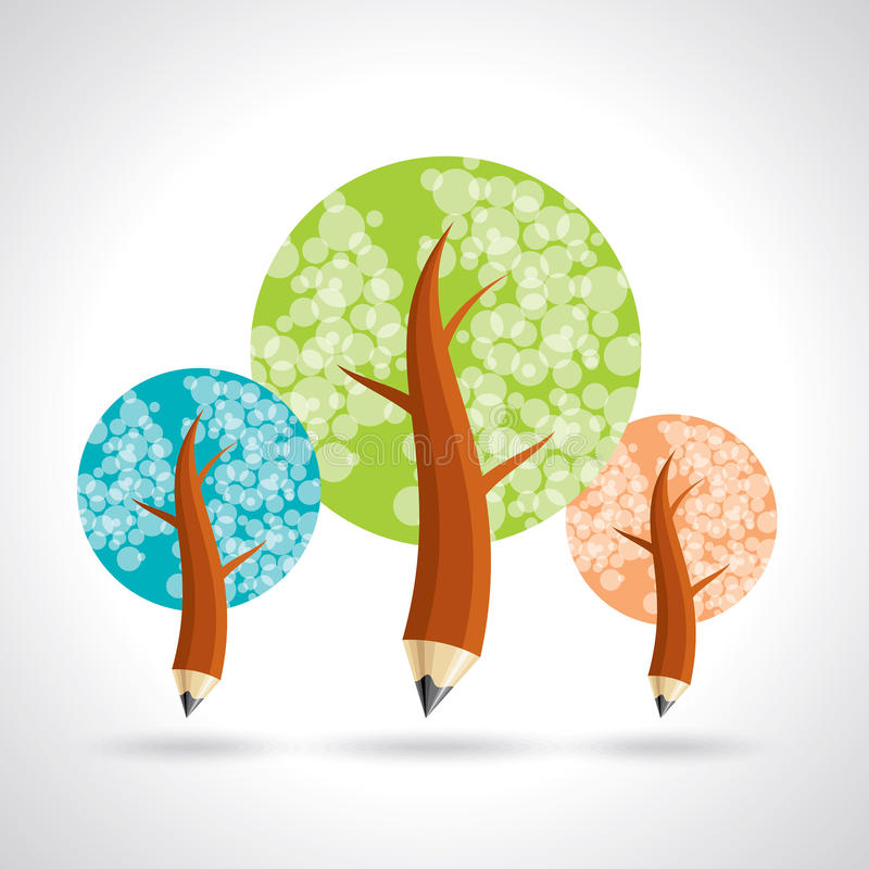 Pencil tree, about education and growing Vector vector illustration