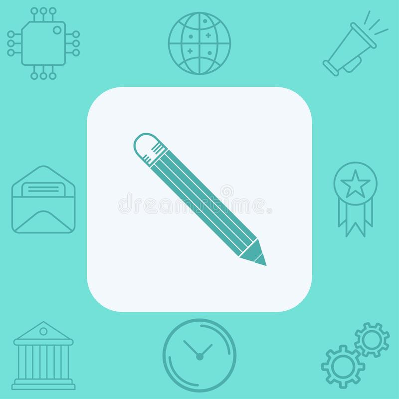 Pencil vector icon sign symbol stock illustration
