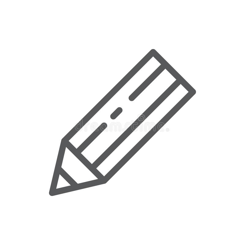 Pencil vector illustration editable icon - outline pixel perfect symbol of sharp instrument for drawing or writing. Pencil vector illustration editable icon stock illustration