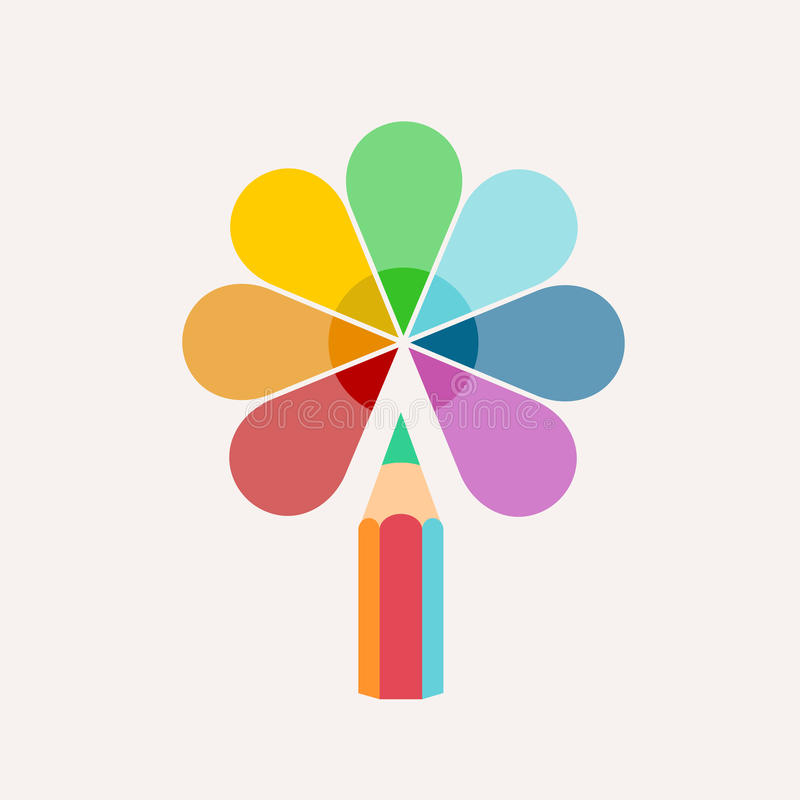 Pencil. Vector logo, colored paint and icon stock illustration