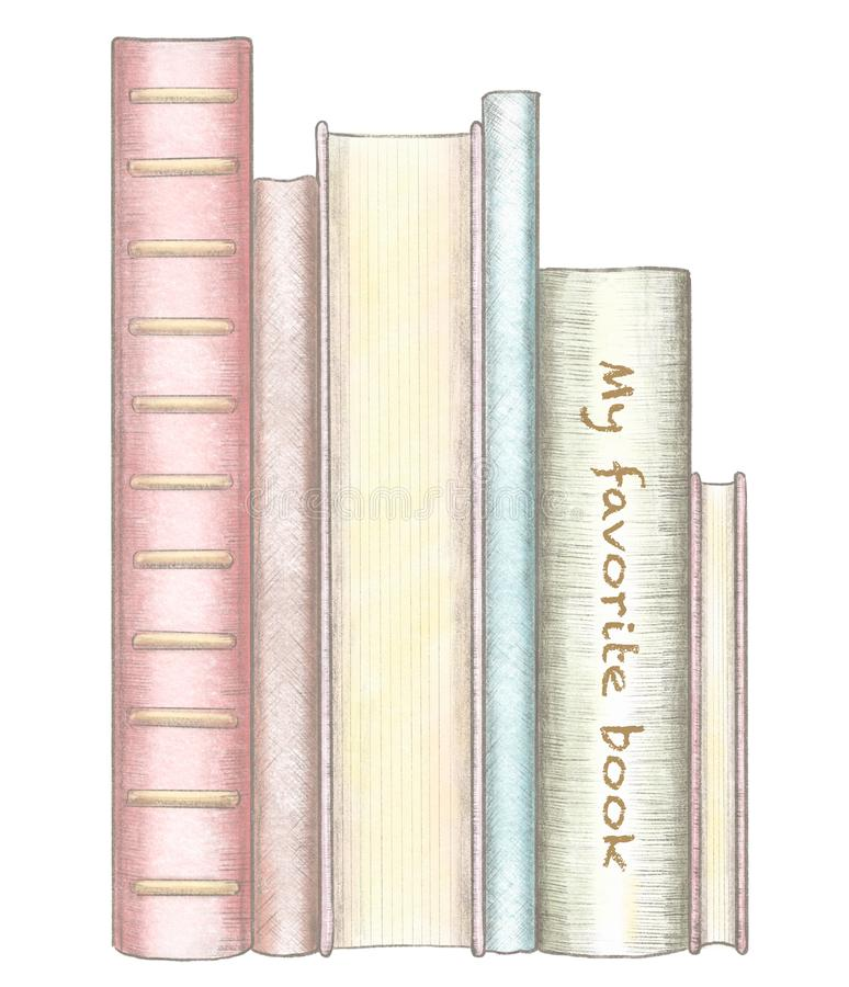 Pencil and watercolor drawing with stack of several standing books stock illustration