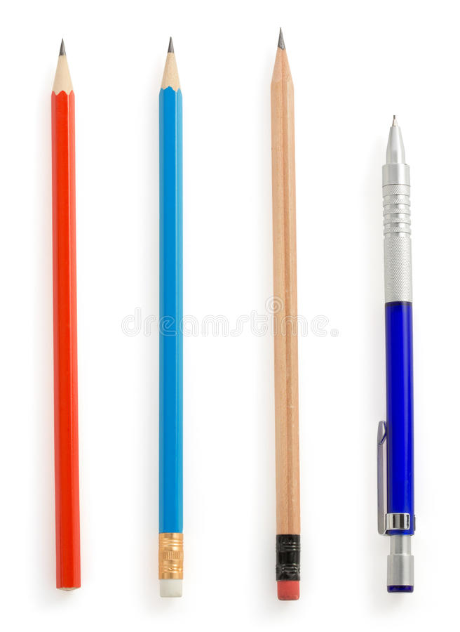 Download Pencil  on white stock image. Image of blue, school, gold - 39503781