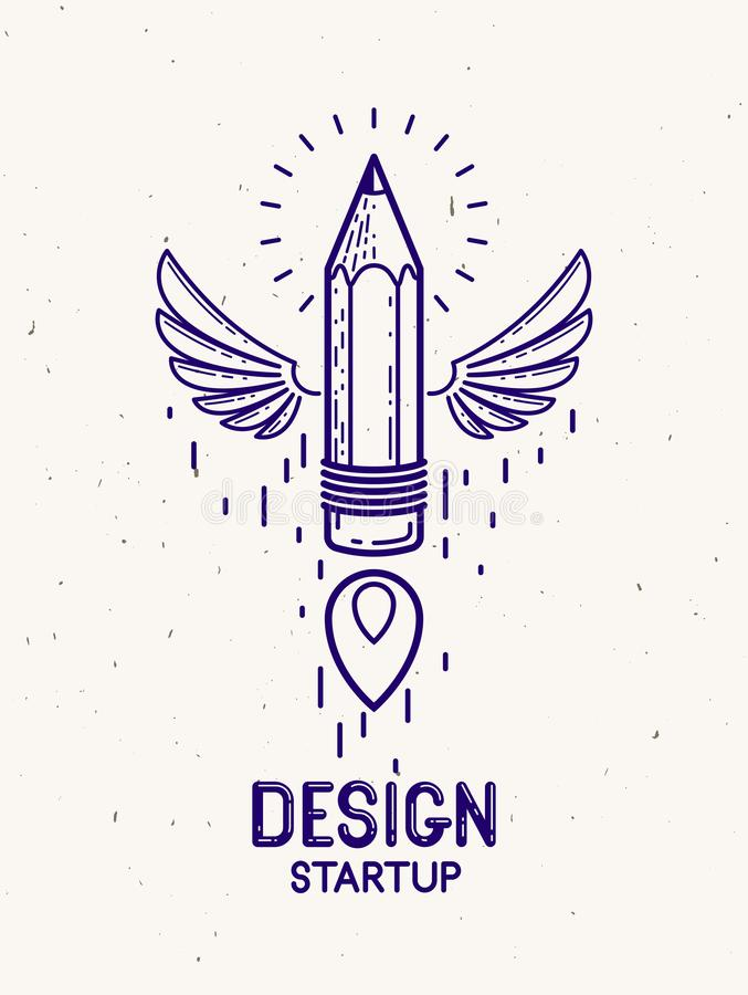 Pencil with wings launching like a rocket start up, creative energy genius artist or designer, vector design and creativity logo. Or icon, art startup vector illustration