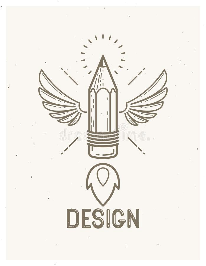 Pencil with wings launching like a rocket start up, creative energy genius artist or designer, vector design and creativity logo. Or icon, art startup stock illustration