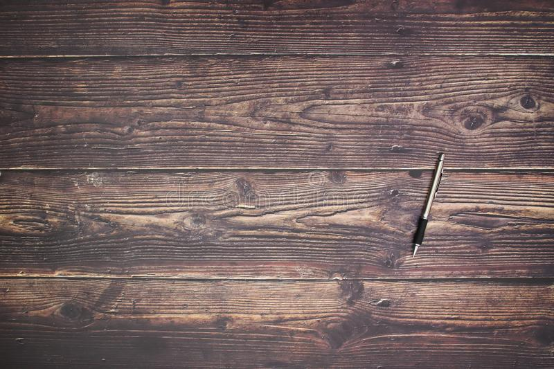 Pencil on wooden table stock photography