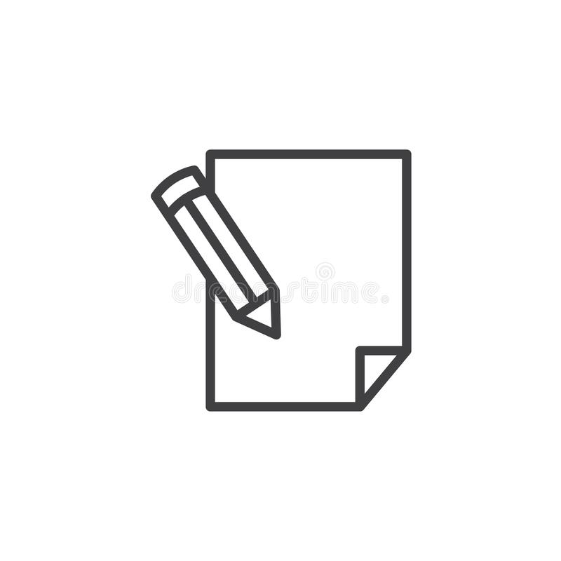 Pencil writing on paper sheet line icon stock illustration