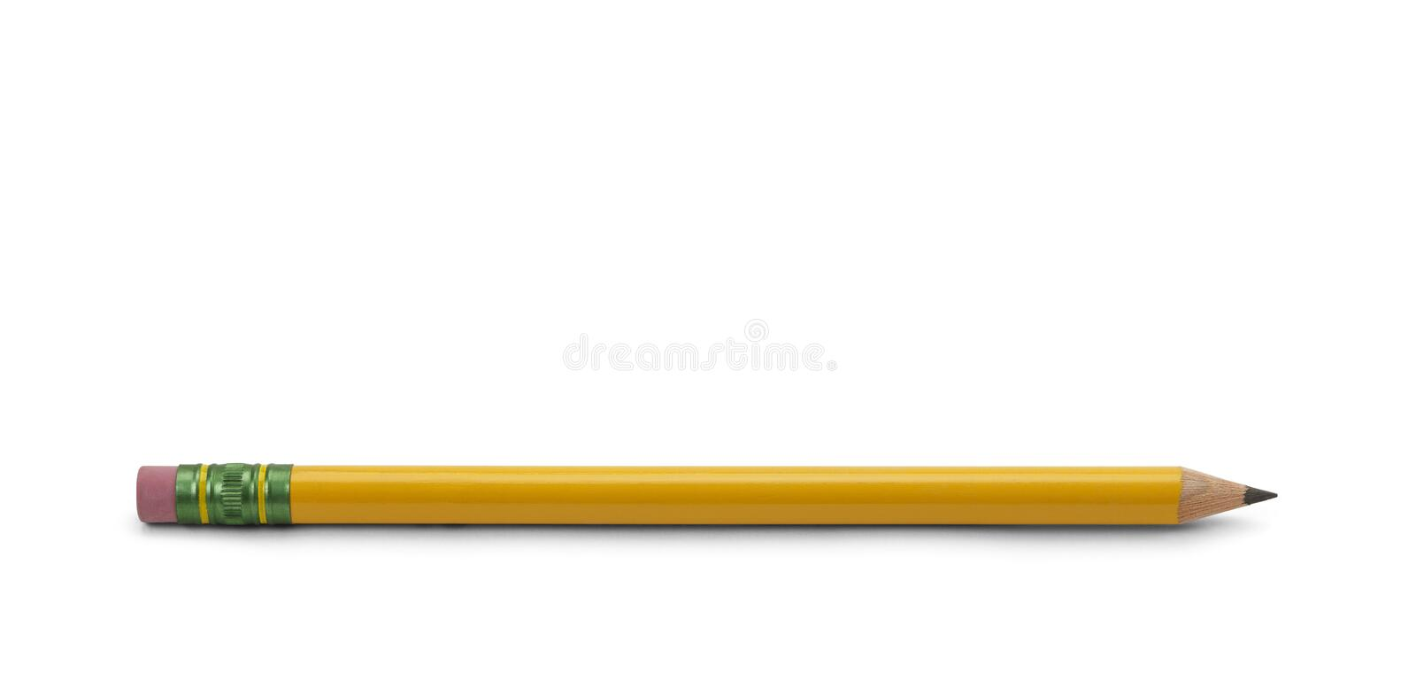 Pencil. Yellow Wood Number Two Pencil with Sharpened Tip Isoalated on White Background royalty free stock images