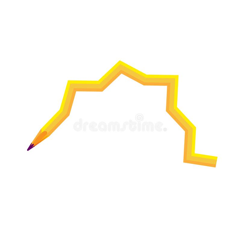 Pencil yellow zigzag wooden sharp transformed. Curl and amber isolated illustration. For design and decoration vector illustration