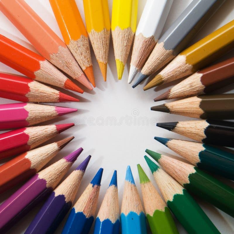 Pencils. Color pencils, circle, different colors stock photo