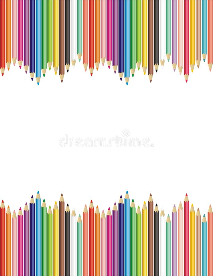 Pencils. Color frame from color pencils for school vector illustration