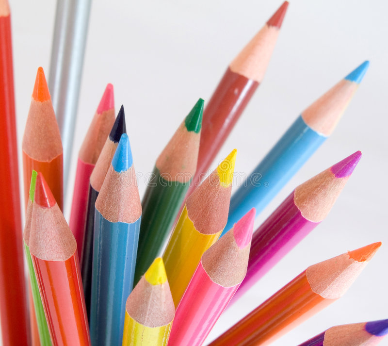 Pencils. Abstract color pencils on white stock photo
